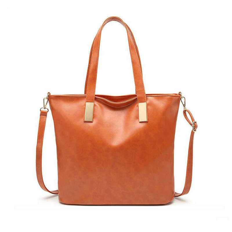 New Fashion Women Handbag PU Wax Leather Women Bag Large Orange Tote Bag Big Casual Ladies