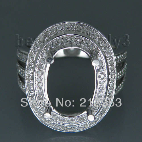 Oval 8x12mm 14kt White Gold Engagement Semi Mounting Real Diamond Promised Ring ACR02