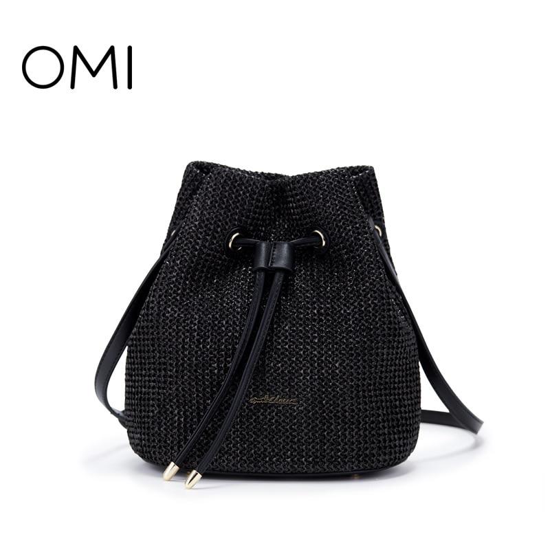 Omi straw bag handbag fashion wild bucket small backpack casual straw bag shoulder bag