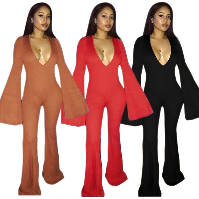 93f02d52e2 Sexy Flare Long Sleeve Jumpsuit Rompers For Women Autumn Deep V Neck  Bodycon Overalls Party Night Clubwear Boot Cut Long Pants