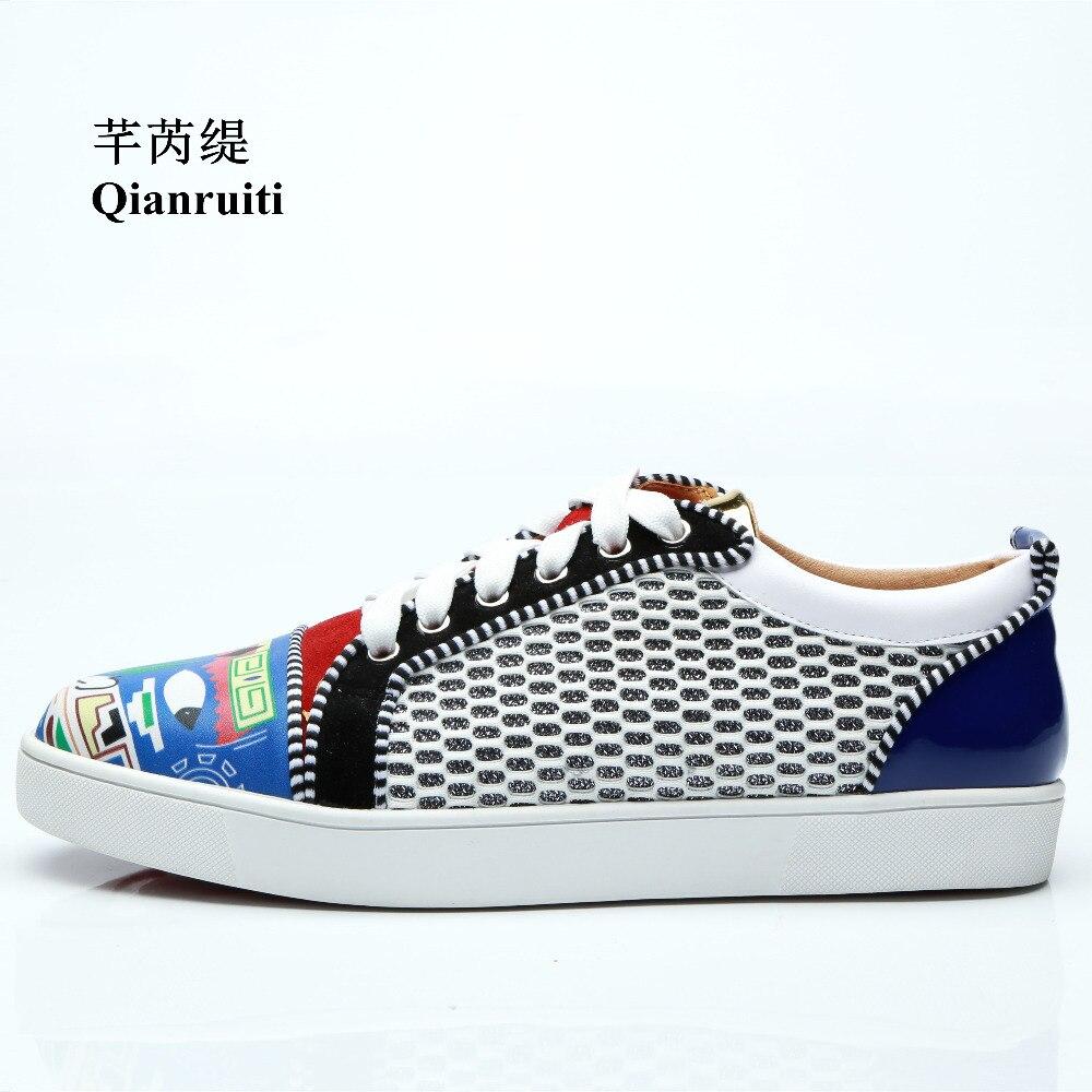 Qianruiti 2018 automne Hommes bande dessinée Graffiti Sneaker à lacets impression plat bas haut Chaussures décontractées Hommes piste Chaussures Hommes 39-47