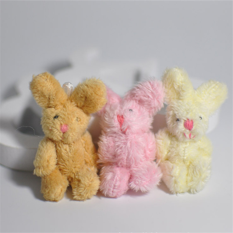 5Pcs/Set Cute Soft Mini Joint Rabbit Pendant Plush Bunny For Key Chain Bouquet Toy Doll DIY Ornaments Gifts Random Color kawai syrup lint rabbit bag lolita silk bowknot soft plush toy model doll single shoulder span portable pearl chain package