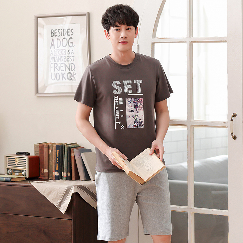 Men Summer Korean Cotton New Pajamas Casual Round Neck Pullover Short Sleeve Shorts Thin Two Piece Men Pajama Sets Pajama Set