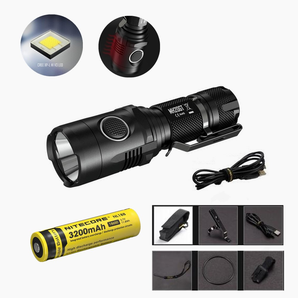 Nitecore MH20GT Flaslhight XP-L HI V3 LED 1000 Lumens USB Rechargeable EDC Torch with NL188 18650 3200mah upgrade Nitecore MH20 niteye ec a12 aa battery rechargeable led flashlight edc light cree xp l led lamp 380 lumens alloy reflector power indicator