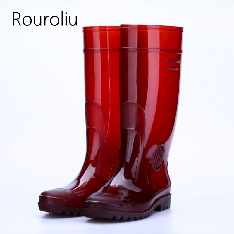 Rouroliu Mens Safety Work Rainboots PVC Waterproof Water Shoes Man Wellies Autumn Non-Slip Knee-High Rain Boots RT349Rouroliu Mens Safety Work Rainboots PVC Waterproof Water Shoes Man Wellies Autumn Non-Slip Knee-High Rain Boots RT349