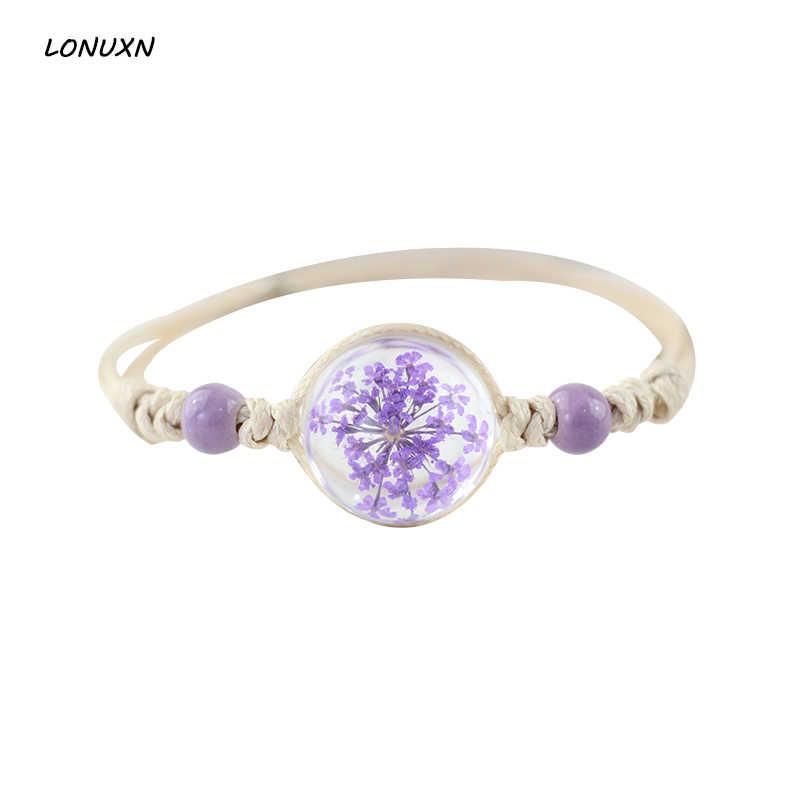 Kualitas tinggi kaca bola lucu Buatan Tangan Bunga Kering Alami Menenun Pesona Gelang & Bangles. untuk Wanita Gadis Fashion Perhiasan Hadiah