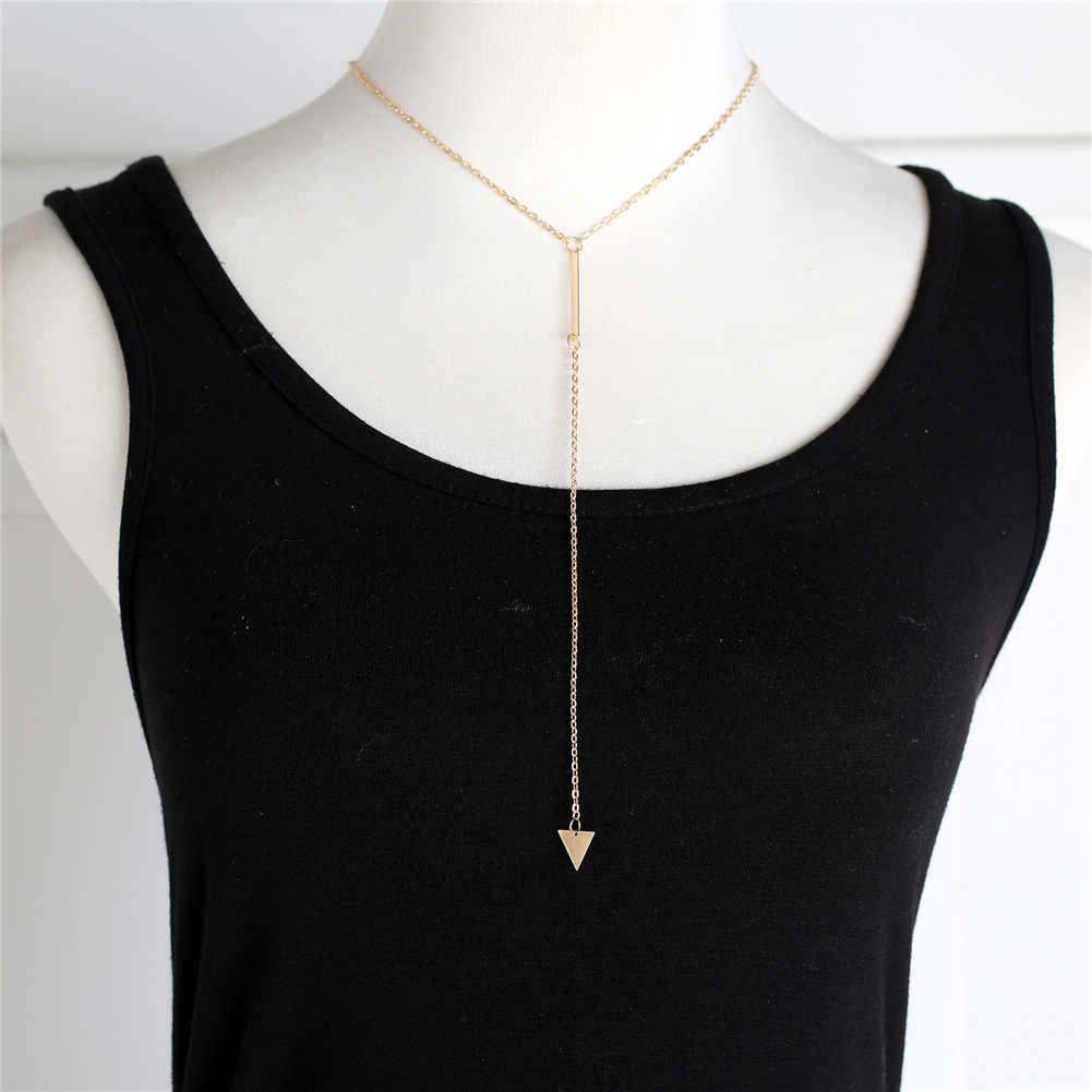 2018 moda mulher casual moda metal corrente barra círculo lariat triângulo punk sexy colar mulher jóias transporte da gota