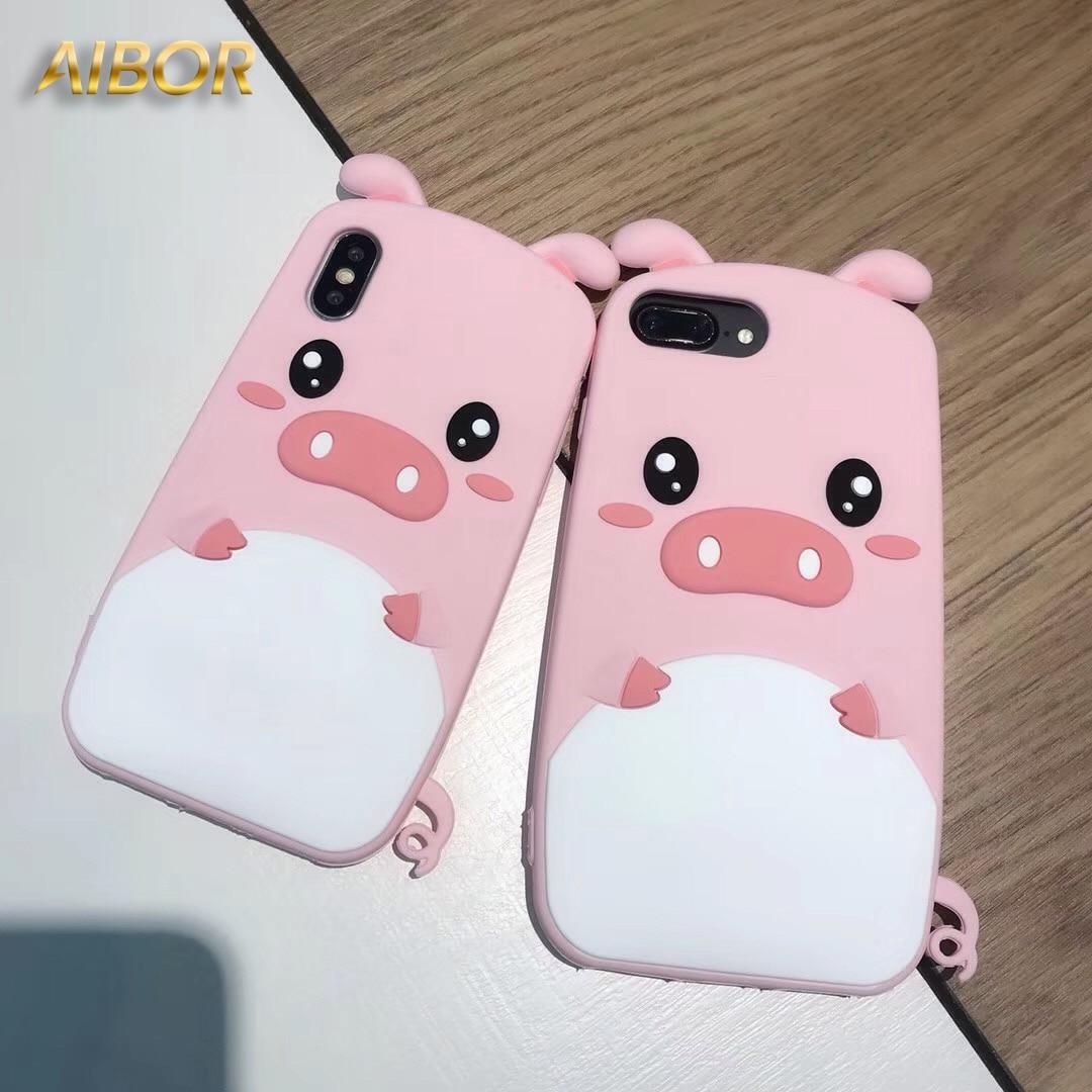 3d Soft Silicone Rubber Pink Pig Cartoon Phone Case For Iphone X Xs Softcase Silicon Kartun Mungil Lucu Samsung Galaxy J2 Prime Karet Silikon Lembut Merah Muda Babi Ponsel Untuk Max Xr