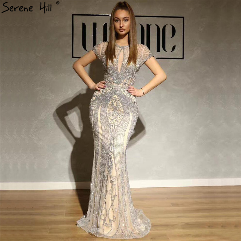 IN STOCK Navy Blue Sleeveless Luxury Evening Dresses O-Neck Full Diamond Sexy Evening Gowns 2019 Serene Hill LA60742