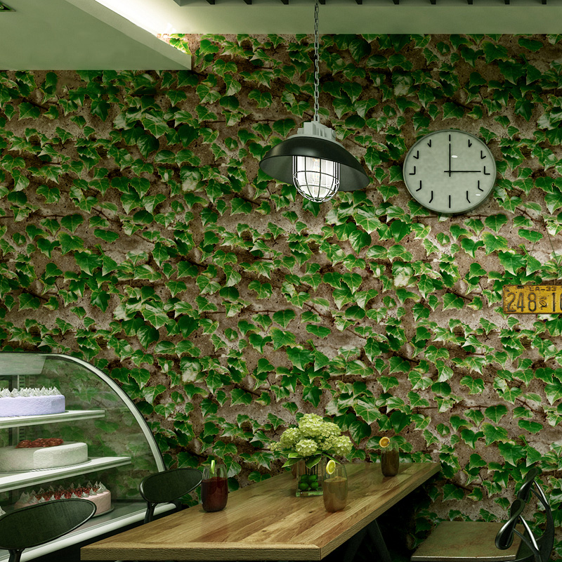 Restaurant Cafe 3D Wallpaper Retro Green Leaf Background Wall Covering PVC Waterproof Wall Paper For Living Room Papel De ParedeRestaurant Cafe 3D Wallpaper Retro Green Leaf Background Wall Covering PVC Waterproof Wall Paper For Living Room Papel De Parede