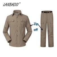 LANBAOSI Đi Bộ Đường Dài Phù Hợp cho Nam Giới Zip Off Shirt + Quần 2 Cái Set Thể Thao Ngoài Trời Chiến Thuật Chống Uv Bảo Vệ Cn Convertible quần áo