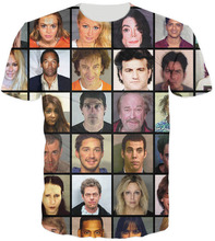 2015 summer style t shirt Celebrity Mugshot Printed 3d t shirt men/women Tops Fashion t shirt Large size XXL Free shipping