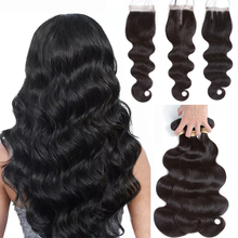 Beaudiva Brazilian Hair Weave Body Wave Bundles With Closure 100 Human Hair Weave Natural Color