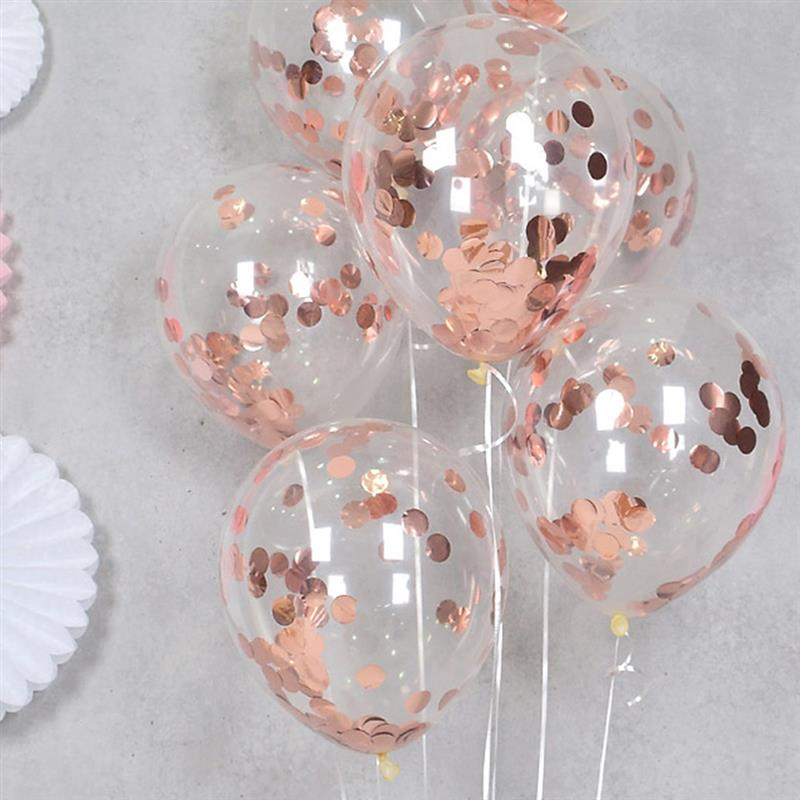 Rose Gold Confetti Balloons Latex Balloon Happy Birthday Baloon Wedding Decoration Ballon Event Party Supplies