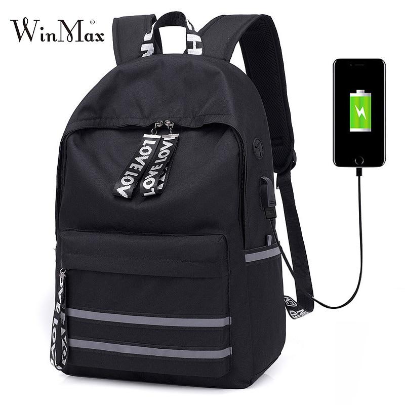 New Reflection Strip School Bags For Boys Girls Multifunction Backpack for Teenage Laptop Travel Bag Men USB Bandage Backpacks