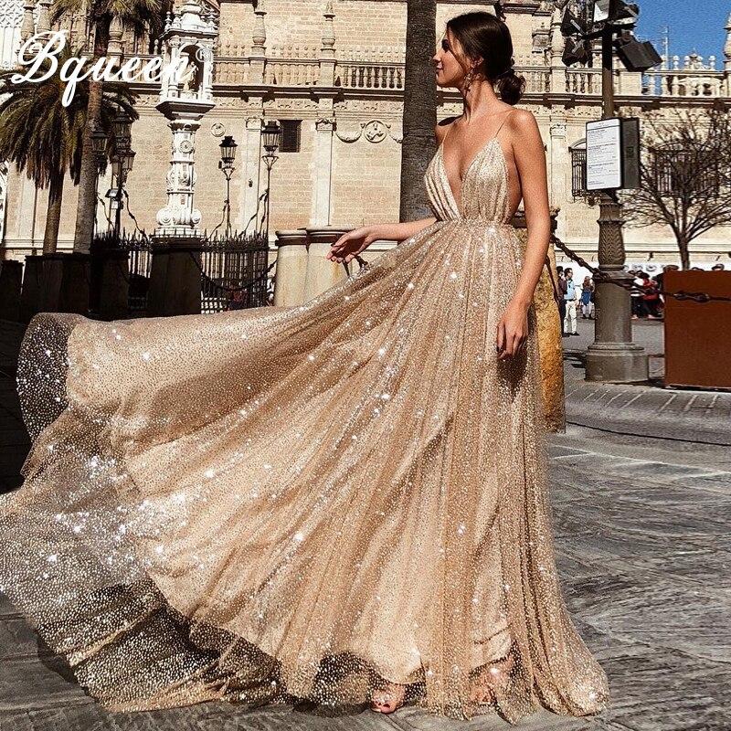 Bqueen sequin sexy robe pour femme V Profond De Courroie De Gaine Dentelle Or robes élégantes Clubwear Partie robe de club 2019 Robes D'été