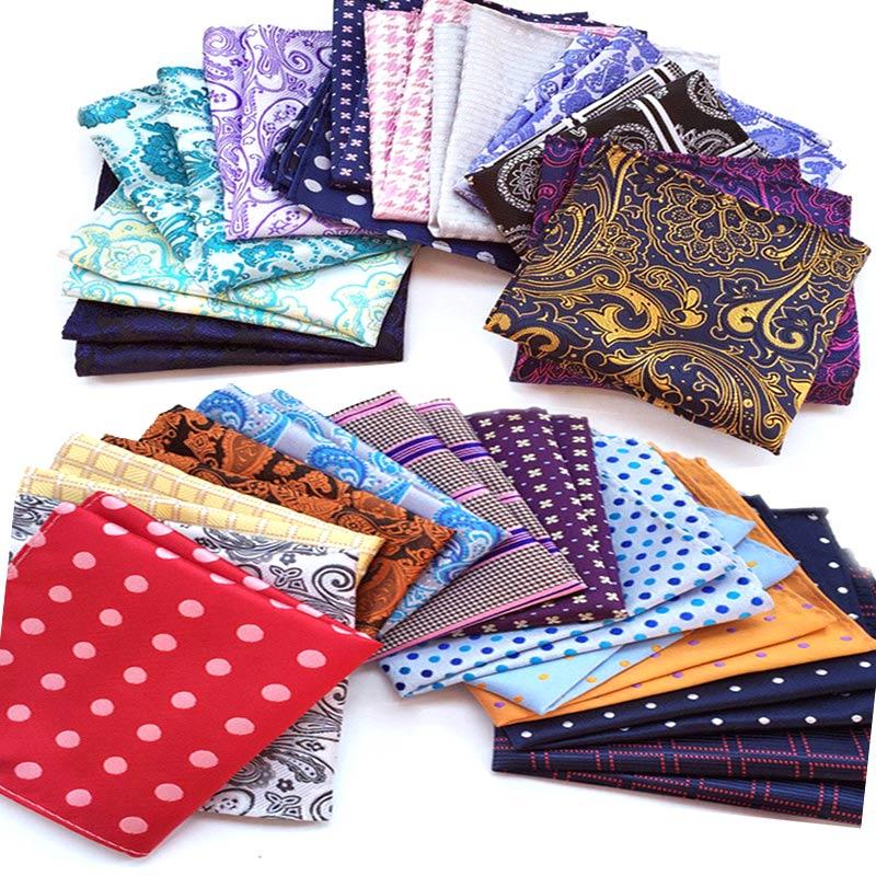 Wholesale ( 30 Pieces / Lot ) Men's  Pocket Squares 100% Silk Handkerchiefs Solid Paisley Stripes Polka DOTS For Wedding Party