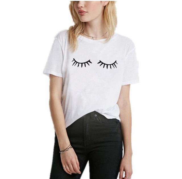Eyelash Print T Shirt Women...