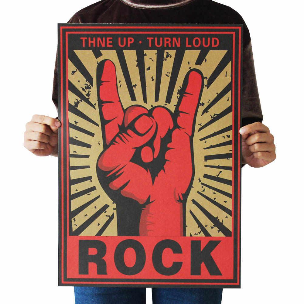 Kualitas tinggi 2018 Mode Terus Rock and Roll Batu Menunjuk Nostalgia Logam Batu Poster Lukisan Dekoratif Dinding Stiker