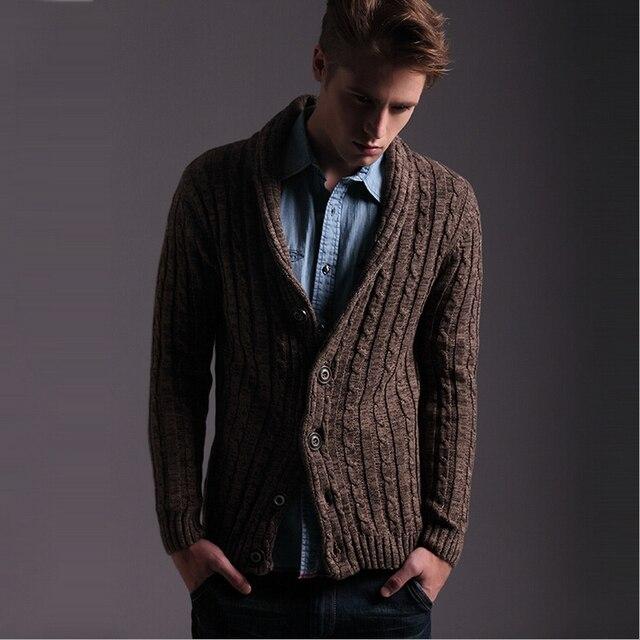 d77c831b7f3f Slim fit Striped cotton shawl collar sweater men fashion Knit cardigan  jacket men winter sweater coat for men black gray brown