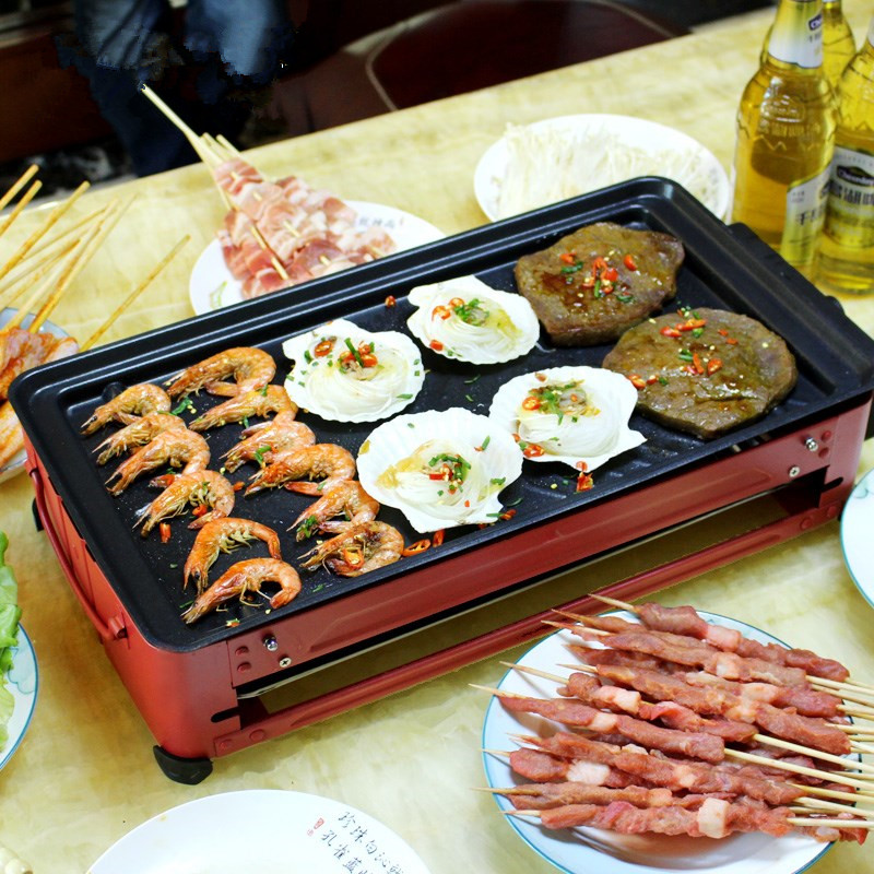 220V Multifunctional Electric BBQ Grill High Quality Non-stick And Smokeless Grill Pan For Family Party 220v commercial korean electric grill oven smokeless and non stick frying pan bbq grill 2 in 1 for bbq and hot pot