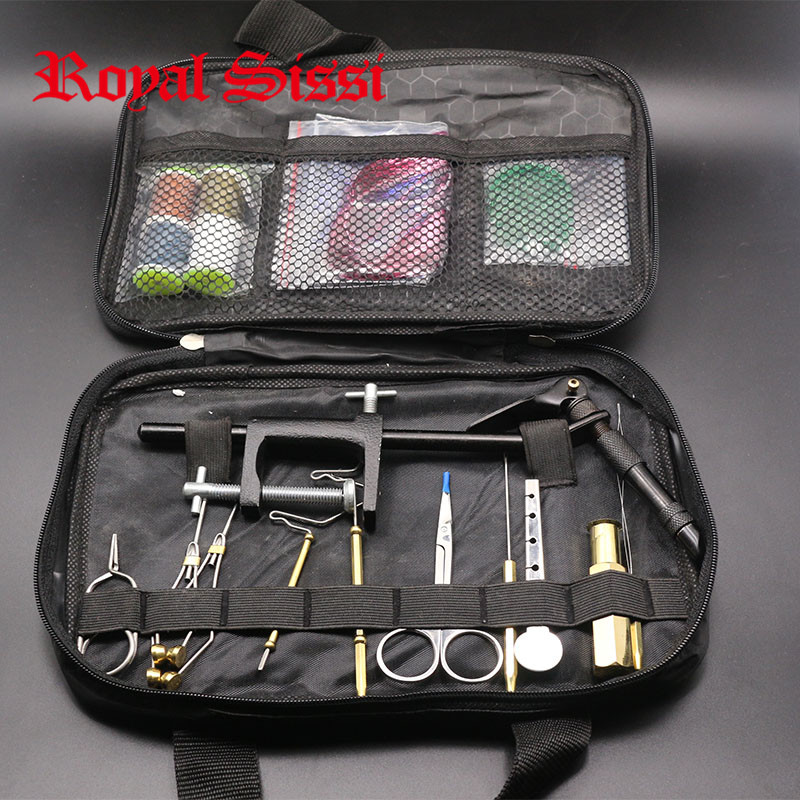 Hot 1Set Fly Fishing Fly Tying Tools Kit in Portable Bag Including Vise bobbin hackle pliers hair stacker and Fly tying material maximumcatch fishing tool compact traveling fly tying system vise fly tying vise