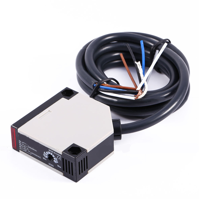 Photoelectric Switch Sensor Square Reflex Light Barrier Sensor Photoelectric Switch AC 90-250V MAYITR mayitr photoelectric switch sensor ac 90 250v 3a e3jk r4m1 square reflex light barrier sensor photoelectric switch
