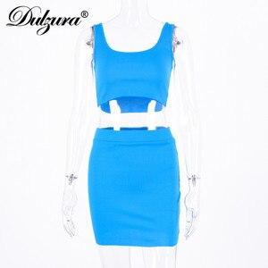 Image 5 - Dulzura two piece set crop tank top mini skirt 2019 summer autumn women elegant sexy 2 piece tracksuit party lady clothes