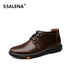 Men Winter Warm Fur Ankle Boots Male Lace Up Solid Leather Business Working Shoes Men Fashion Round Toe Short Boots AA60528