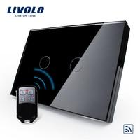 Free Combination Package US AU Standard VL C302R 82VL RMT 02 Waterproof Black Glass 2 Gang