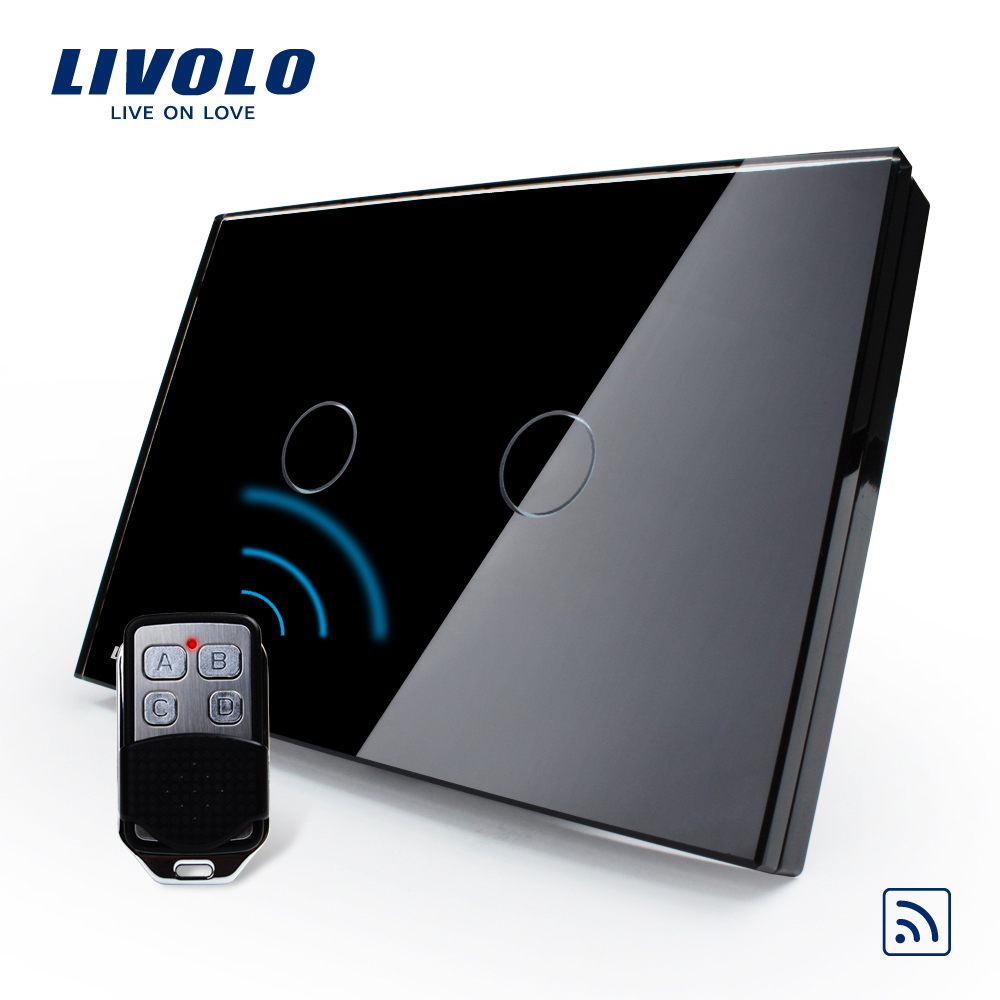 Livolo US/AU Standard, VL-C302R-82VL-RMT-02,  Waterproof  Black Glass 2 Gang 1 Way Switch&Mini Remote aeg t vl 5531 black вентилятор