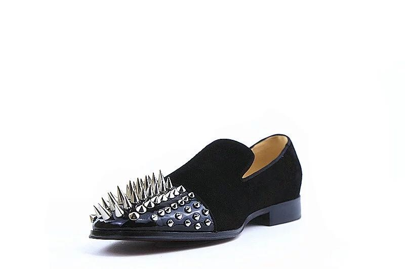 Fashion black Spiked Loafers Shoes Men Round Toe Punk Casual Shoes Male Slip On Rivets Men Shoes Leather suede flats shoes round toe suede slip on plimsolls