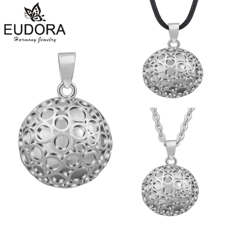 Eudora Harmony Ball Round Mexican Bola Pendant Angel Caller Necklace Circle Musical Sounds Bola Balls Jewelry for Pregnant Women