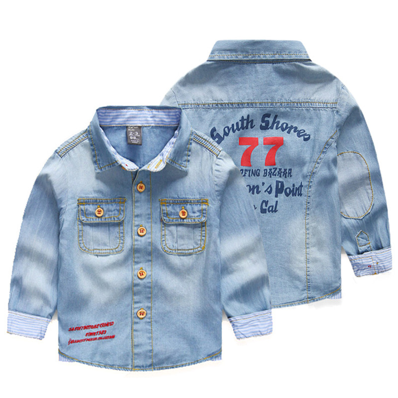 1pcs New Brand Fashion Style Children Boy's shirts Casual Solid Denim cotton kids shirt clothing for 2-9Y casual solid denim mini shirt dress
