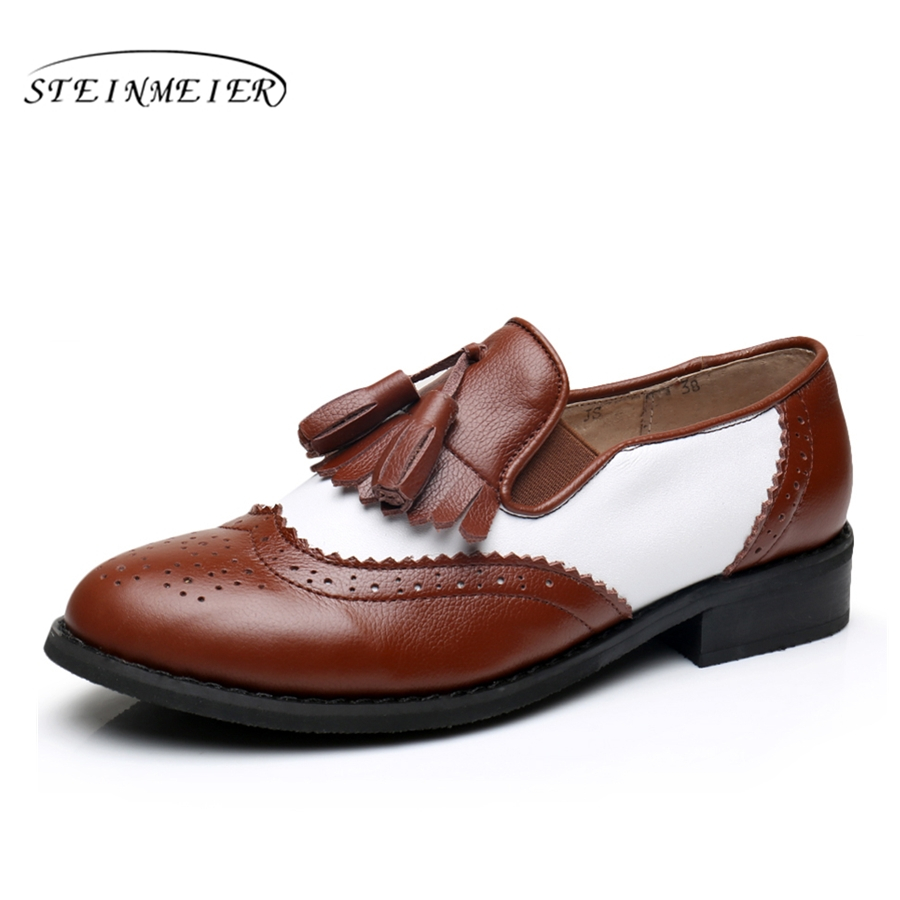 Women genuine leather oxford flats tassel vintage Casual soft shoes round toe handmade brown white oxfords shoes for women fur foreada genuine leather shoes women flats round toe lace up oxfords shoes real leather casual boat shoes brown pink size 34 40