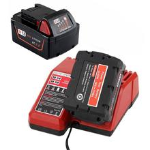 With Charger 5000Mah 18V Li-Ion Replacement Power Tool Battery For Milwaukee For M18 Xc 48-11-1815 M18B2 M18B4 M18Bx,Eu Plug цена