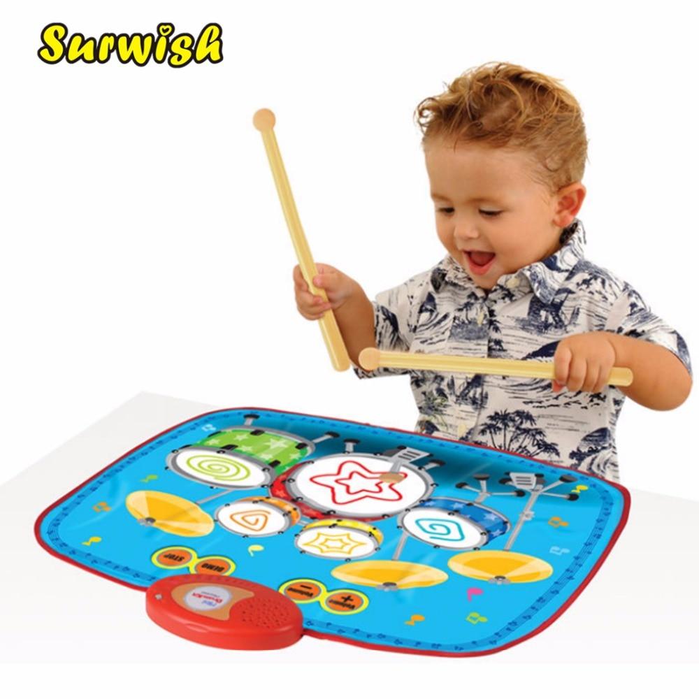 Niños Mini Drum Set patrón Musical Touch juego Mat bebé educativa música alfombra niño juguete regalo con 2 baquetas