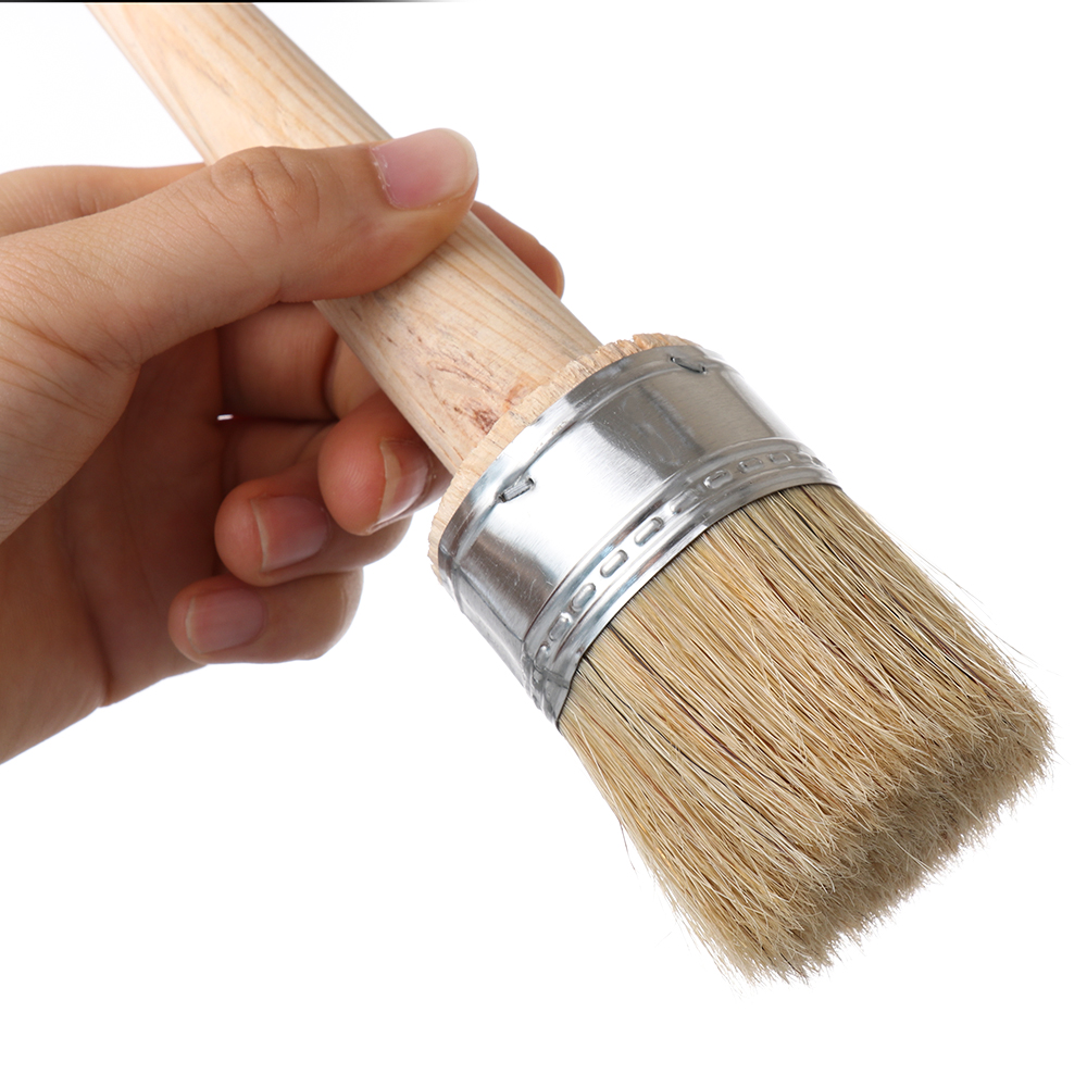 1Pc Wood Large Brushes With Natural Bristles Chalk Paint Wax Brush For Painting Or Waxing Furniture Stencils Folk Art Home Decor