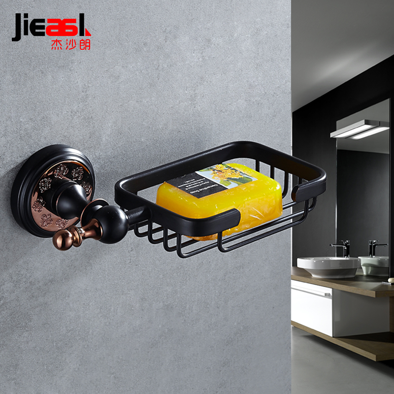Jieshalang Euro Style Wall Soap Holder Box Black Soap Dishes Luxury Bathroom Copper Soaps Basket Net Netro Bathroom Accessories