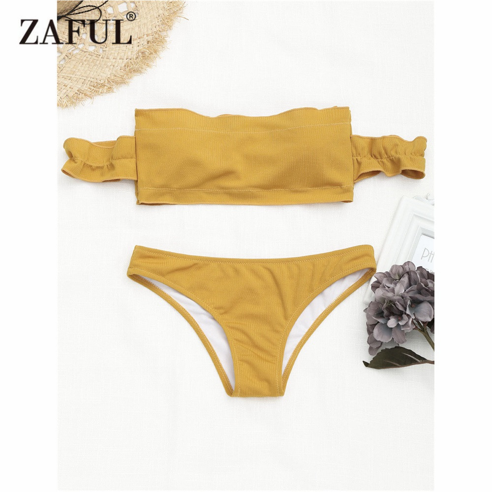 ZAFUL Bikini 2018 Ruffles Swimwear Women Ribbed Off The Shoulder Swimsuit Textured Solid Padded Bathing Suit maillot de bain chic off the shoulder asymmetrical women s blouse