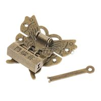 6Pcs Antique Latches Jewelry Gift Wooden Suitcase Case Hasp Antique Decorative Latch Hook Lock for Box Craft+Screws+Lock 59x55mm