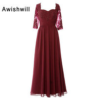 Customized Burgundy Dress for Wedding Guest 3/4 Sleeves Beading Appliques Chiffon Women Formal Dress Mother of The Bride Dresses