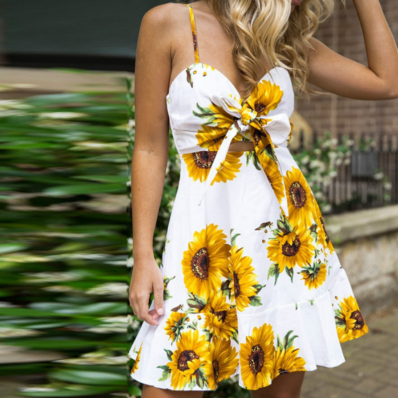 Bowknot Sexy Spaghetti Strap Sundress Femme Boho Printed Backless <font><b>Dresses</b></font> Women Summer Sleeveless Beach Ruffled Mini <font><b>Dress</b></font> GV358 image