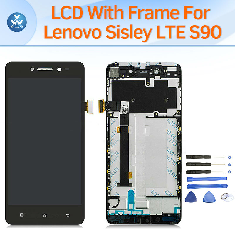 LCD screen for Lenovo Sisley LTE S90 LCD display touch panel digitizer frame full assembly replacement pantalla black white original lcd for wiko ridge 4g lcd display with touch screen digitizer pantalla assembly replacement 5 inch black color