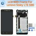 Tela de lcd para lenovo sisley s90 lte pantalla lcd visor do painel de toque digitador quadro assembléia completa substituição preto branco