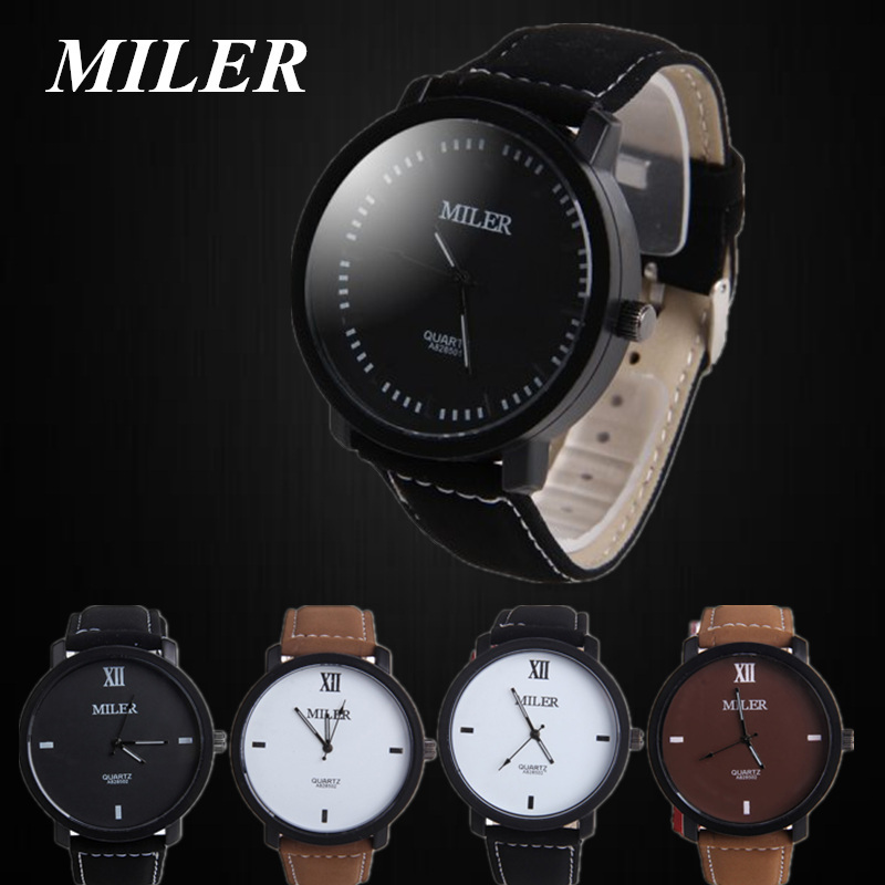 Men's Miler watch pu Leather Sports Military Quartz Watches Out Door Hot Sale! Fashion Style Analog Wristwatch Round Dial Relogs fashion leather watches for women analog watches elegant casual major wristwatch clock small dial mini hot sale wholesale