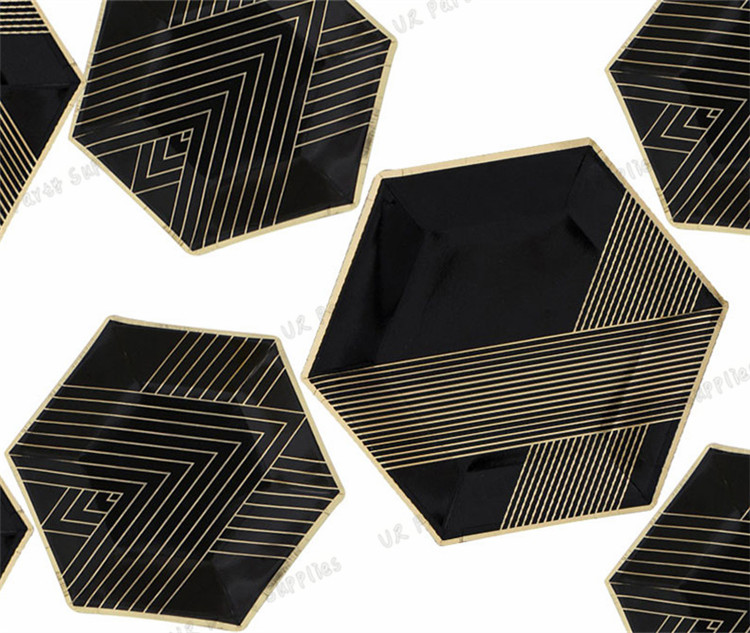 80pcs Disposable Dinner Plates Black with Foil Gold Vintage Chevron Striped Hexagon Paper Plates for Firm Party Bridal Shower -in Disposable Party Tableware ... & 80pcs Disposable Dinner Plates Black with Foil Gold Vintage ...