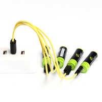 ZNTER 2/4pcs akumulator aa 1.5V 1700mAh USB ładowanie baterii litowej Bateria z mikro kabel do ładowania USB