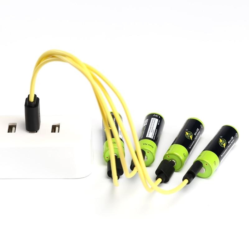 Znter 2/4pcs aa bateria recarregável 1.5 v 1700 mah bateria de lítio de carregamento usb com micro cabo de carregamento usb
