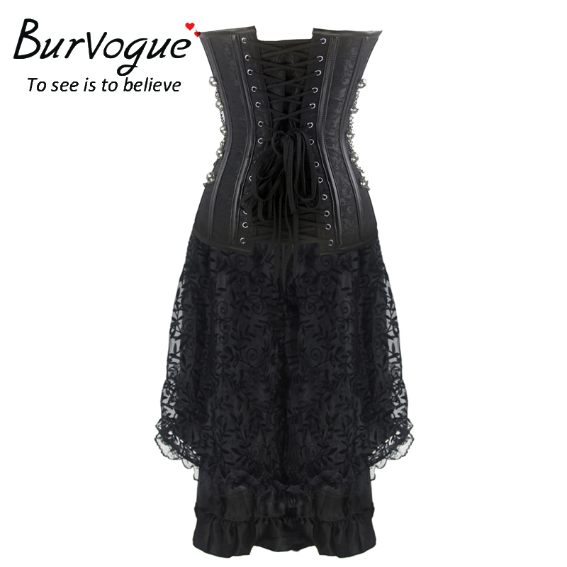 835bf74a0a Burvogue New Women Gothic Jacquard Party Steampunk Lace Maxi Corset ...